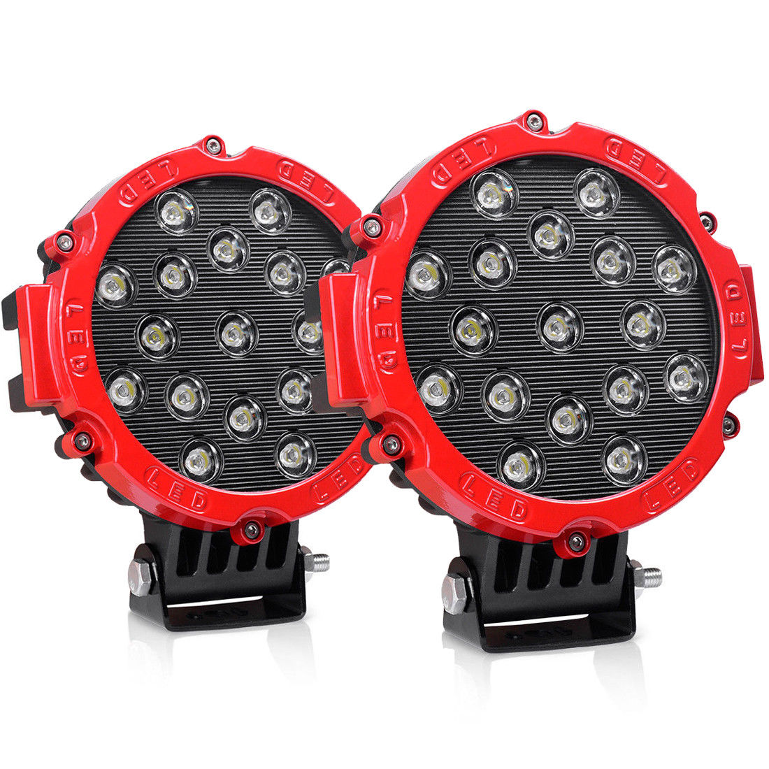"LED Lights Bar 2Pcs 7"" 51W Spot Round Off Road Fog lights with Mounting Bracket For SUV Boat Jeep Lamp,2 Years Warranty(Red)"
