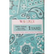 Waverly Inspirations Pre-Cut Aqua Green Fabric, per Yard