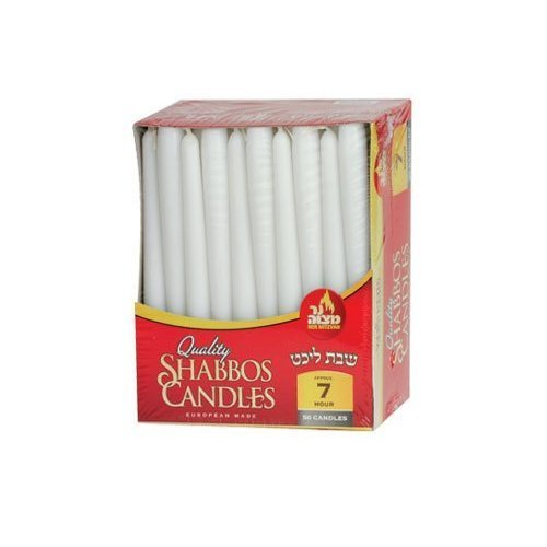Quality White Taper Candles Burn 7 Hours, 1 Pack of 30 Candles by Ner Mitzvah
