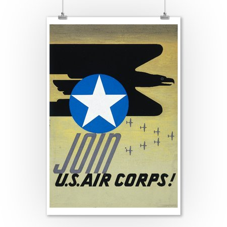 Join US Air Corps Vintage Poster USA (9x12 Art Print, Wall Decor Travel Poster)