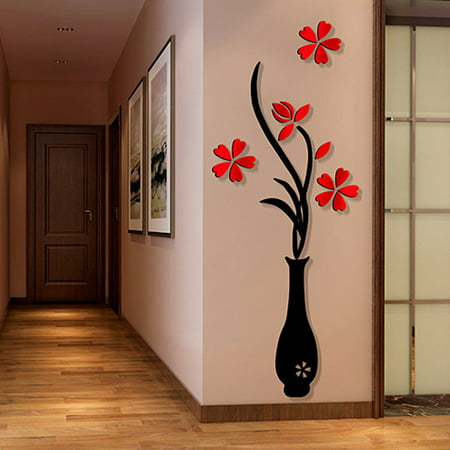 3d wall sticker decals, outgeek removable flowering plant wall