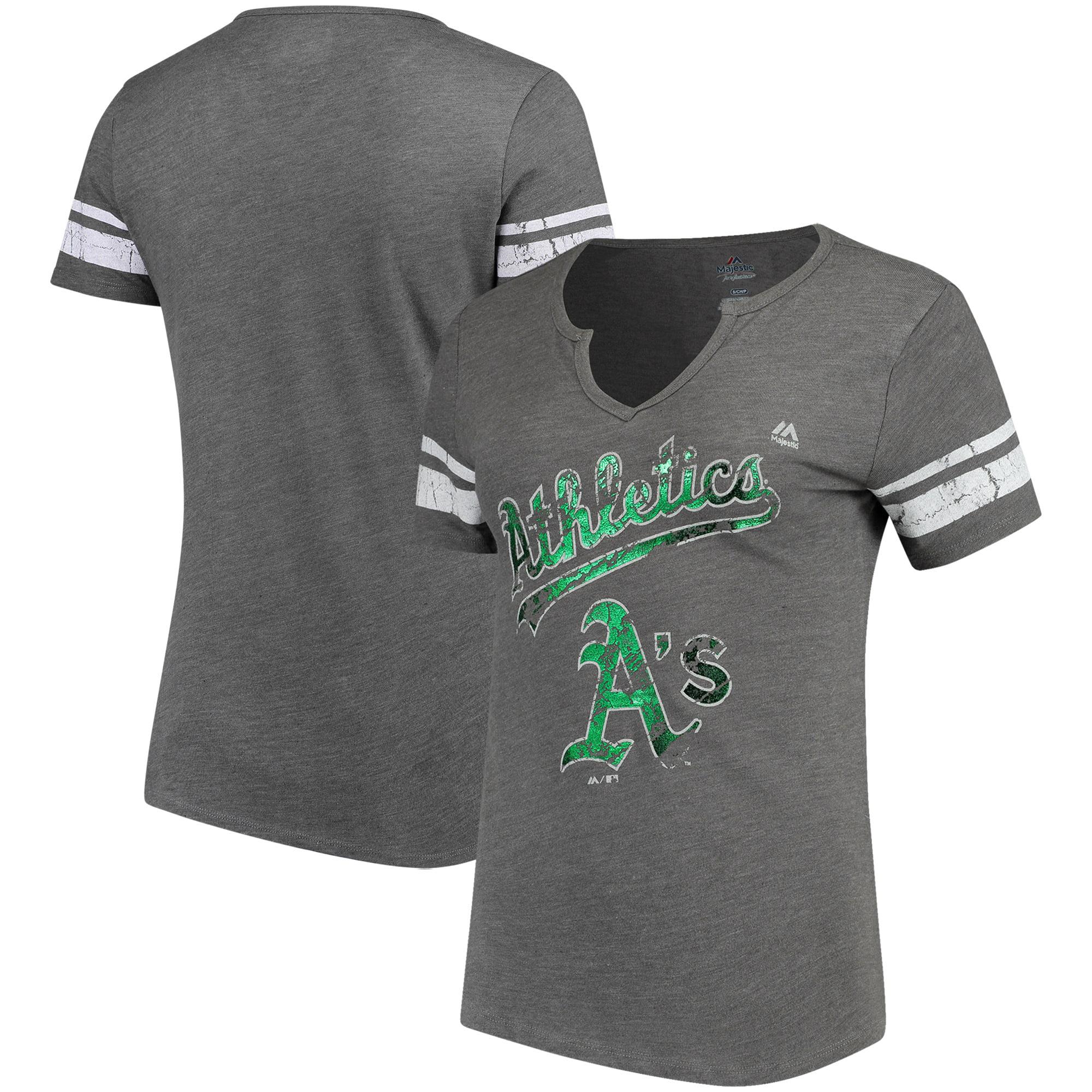 Oakland Athletics Majestic Women's Two Seamer V-Notch Tri-Blend T-Shirt - Gray/White