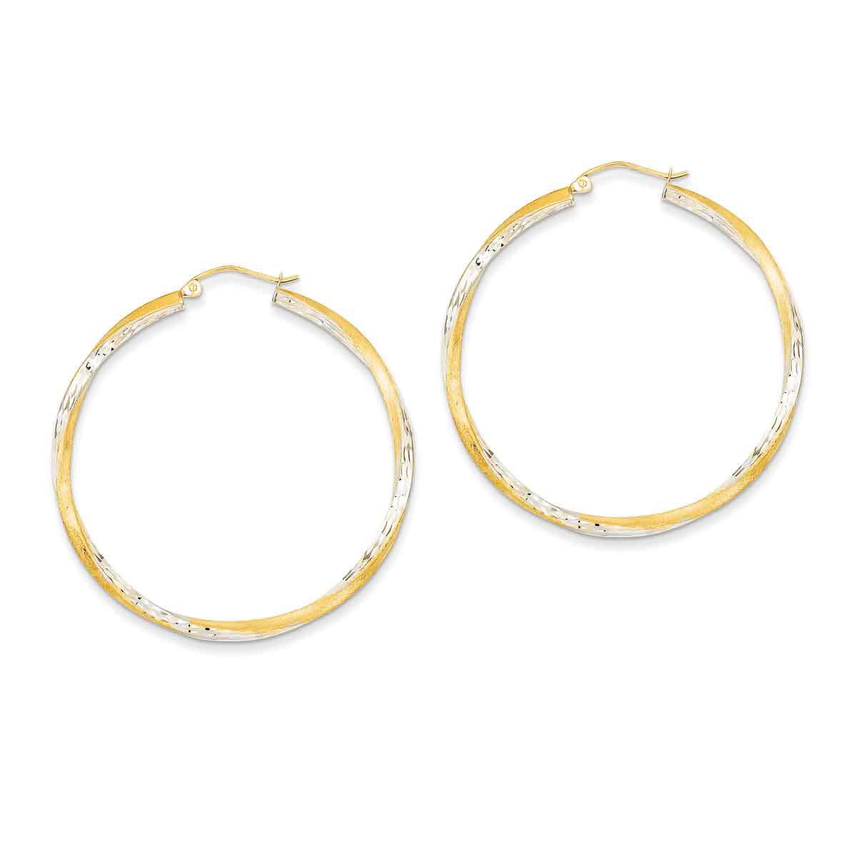 Jewelry Adviser 14k White Gold 2mm Square Tube Hoops
