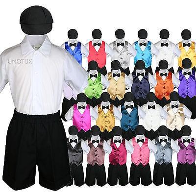 Boys Toddler Formal Vest Shorts Suits Satin Vest Black Bow Tie Hat 5pc Set S-4T - Ref Outfit Halloween