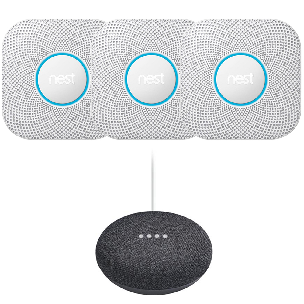 Nest Protect Smoke and CO Alarm Battery 3-Pack White + Mini Speaker Charcoal