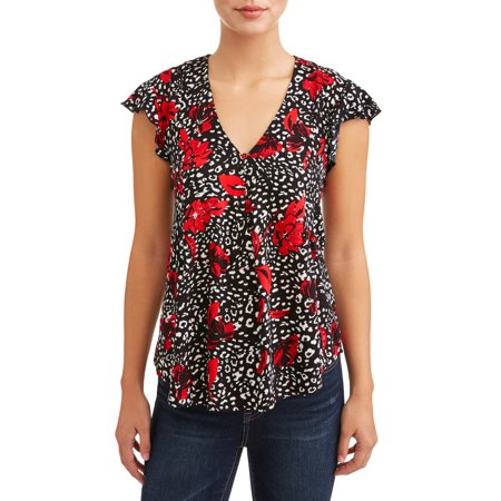 Women's Short Sleeve Flutter Sleeve Blouse