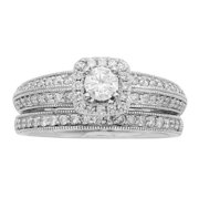Sofia  14K White Gold 1ct TDW IGL Certified Round Cut Halo Bridal Set