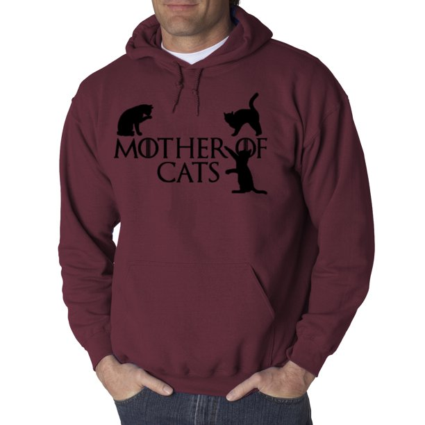 793 - Hoodie Mother Of Cats Dragons Game Thrones Parody Sweatshirt 2XL Maroon