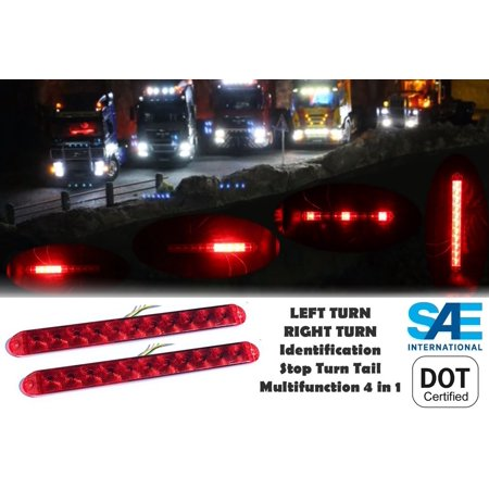 Pair (2) Multifunction Red LED Light Bar Waterproof Submersible as Brake Stop Turn ID Signal Clearance Side Marker for Trailer Truck RV JEEP Universal -