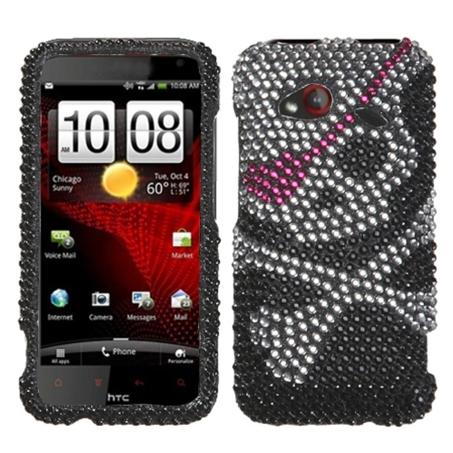 Insten Skull Diamante Case for HTC: ADR6410 (INCREDIBLE 4G LTE)
