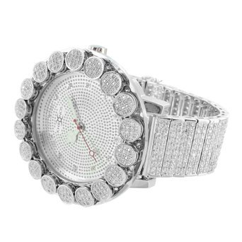 Real Diamond Watch Iced Tray Band Flower 1 Row Bezel Mens Unique Style ()