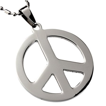 R.H. Jewelry Mens Womens Stainless Steel Pendant, Peace Symbol Pendant Necklace