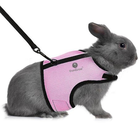 Rabbit Harness & Leash - for Running, Walking, Jogging Hands-Free - Allows Bunny to Hop Unrestricted - Stylish Accessory - Soft, Breathable mesh Nylon Fabric - Adjustable with Touch Fasteners Trixie P