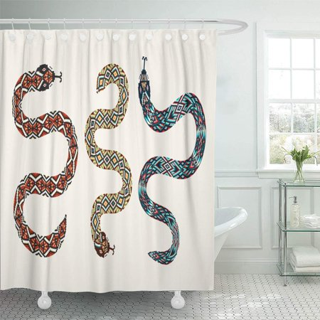 SUTTOM Brown of Snakes Tribal Beaded Applique Boho Patch Shower Curtain 60x72 inch - image 1 de 1