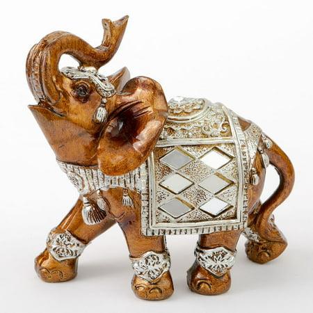 1 Mahogany with gold accents elephant - medium size