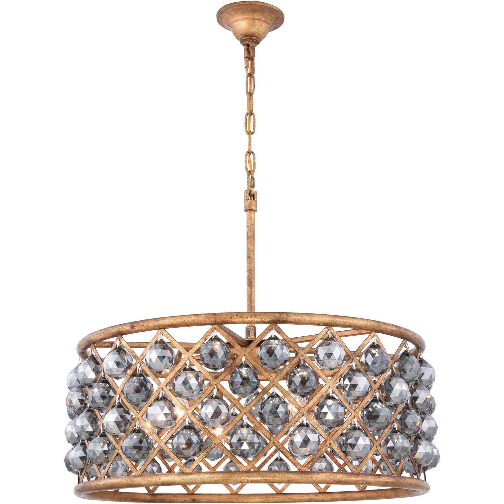 "Madison Collection Pendant Lamp D:25"" H:10.5"" Lt:6 Golden Iron Finish Royal Cut Silver Shade (Grey)"