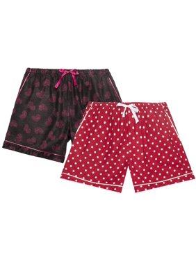 Noble Mount Women's Premium 100% Cotton Flannel Lounge Shorts 2-Pack