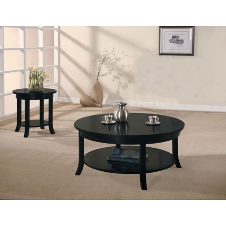 Simple Relax 1perfectchoice Gardena Collection Occasional Round Coffee Table Low Stroage Shelf Wood In Black