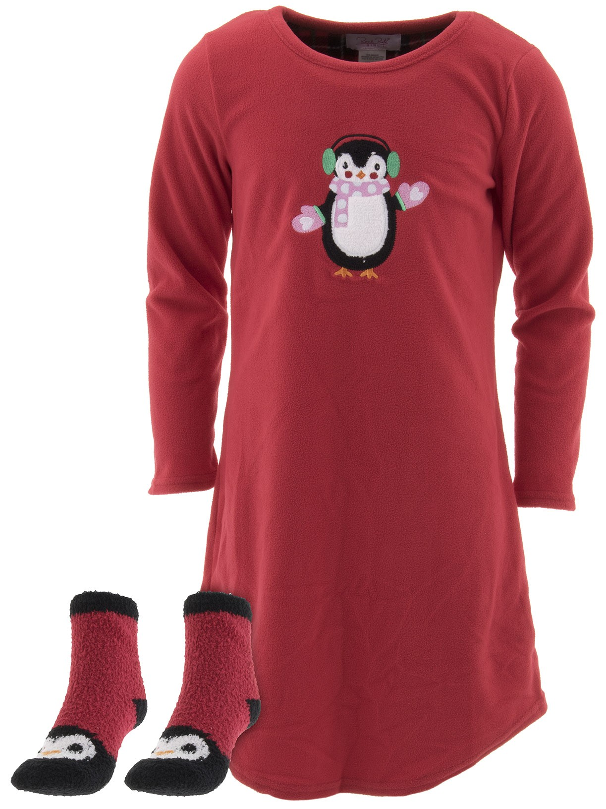 Rene Rofe Girls Penguin Red Nightgown and Socks Set