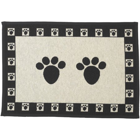 Designed Tapestry Placemat for Pet Feeding Station, 13-Inch by 19-Inch, Paws, Natural/Black, The perfect compliment to your feeding station! By (Petrageous Designs Buddy's Best Feeder Sage)