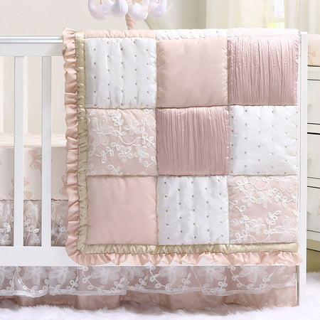 Baby Girl Crib Bedding - Dusty Pink Patchwork Design - Grace 4 Piece Set by The Peanut Shell - Patchwork Crib Bedding Collection