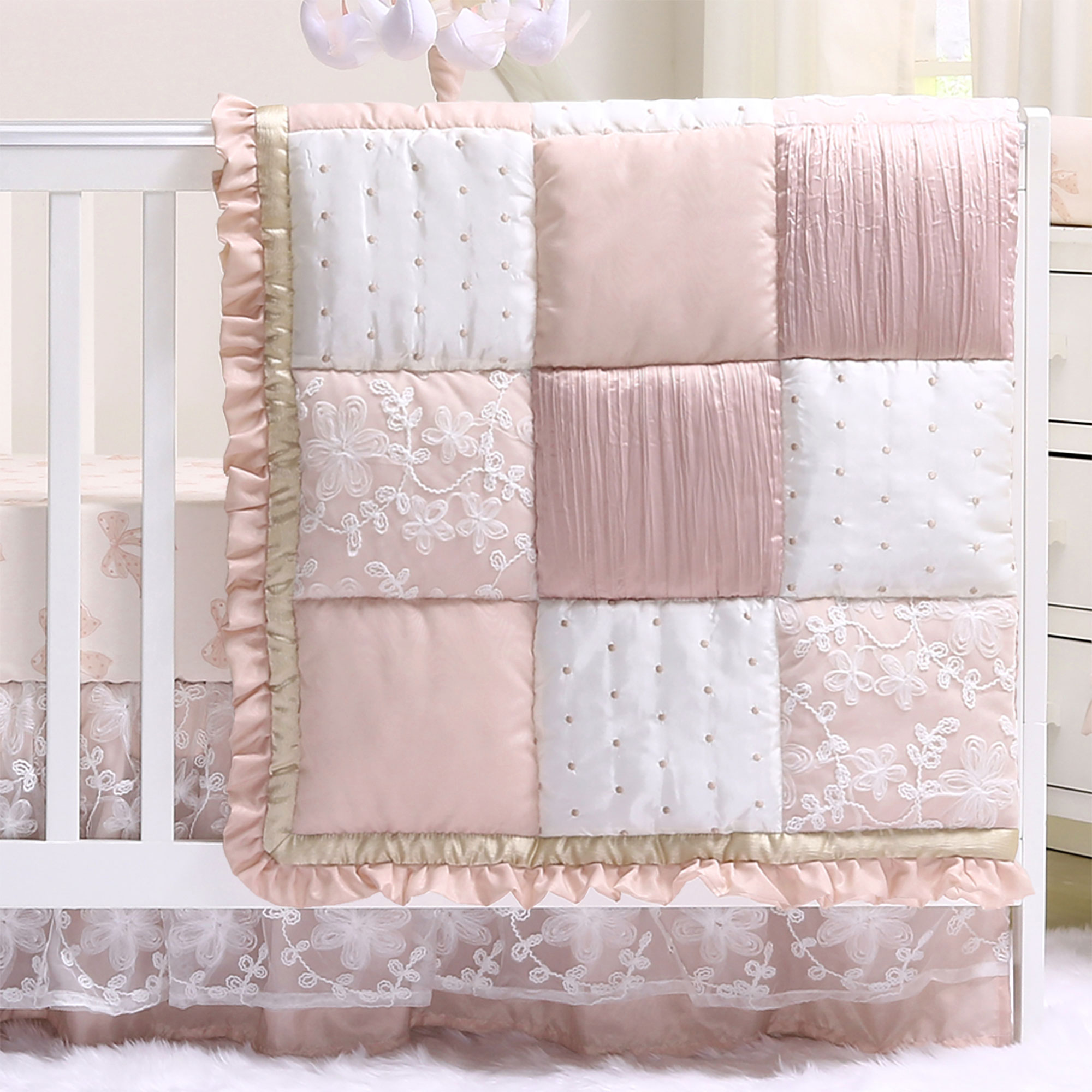 Baby Girl Crib Bedding - Dusty Pink Patchwork Design - Grace 4 Piece Set by The Peanut Shell