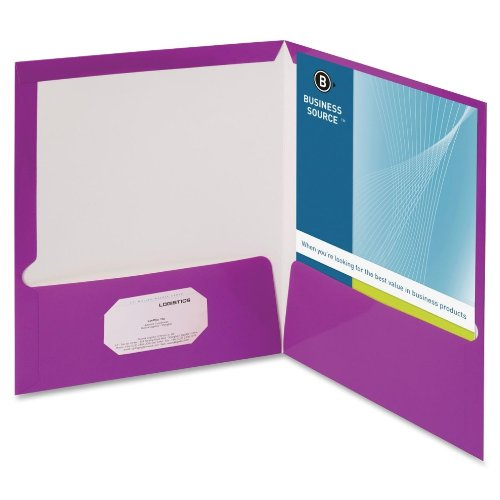 "Business Source Two-pocket Folders With Business Card Holder - Letter - 8.50"" X 11"" - 100 Sheet Capacity - 2 Pockets - Card Paper - Purple - 25 / Box (BSN44429)"