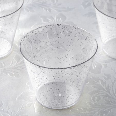Efavormart 60 Pack 5 oz Glittered Wine Cocktail Disposable Plastic Cups