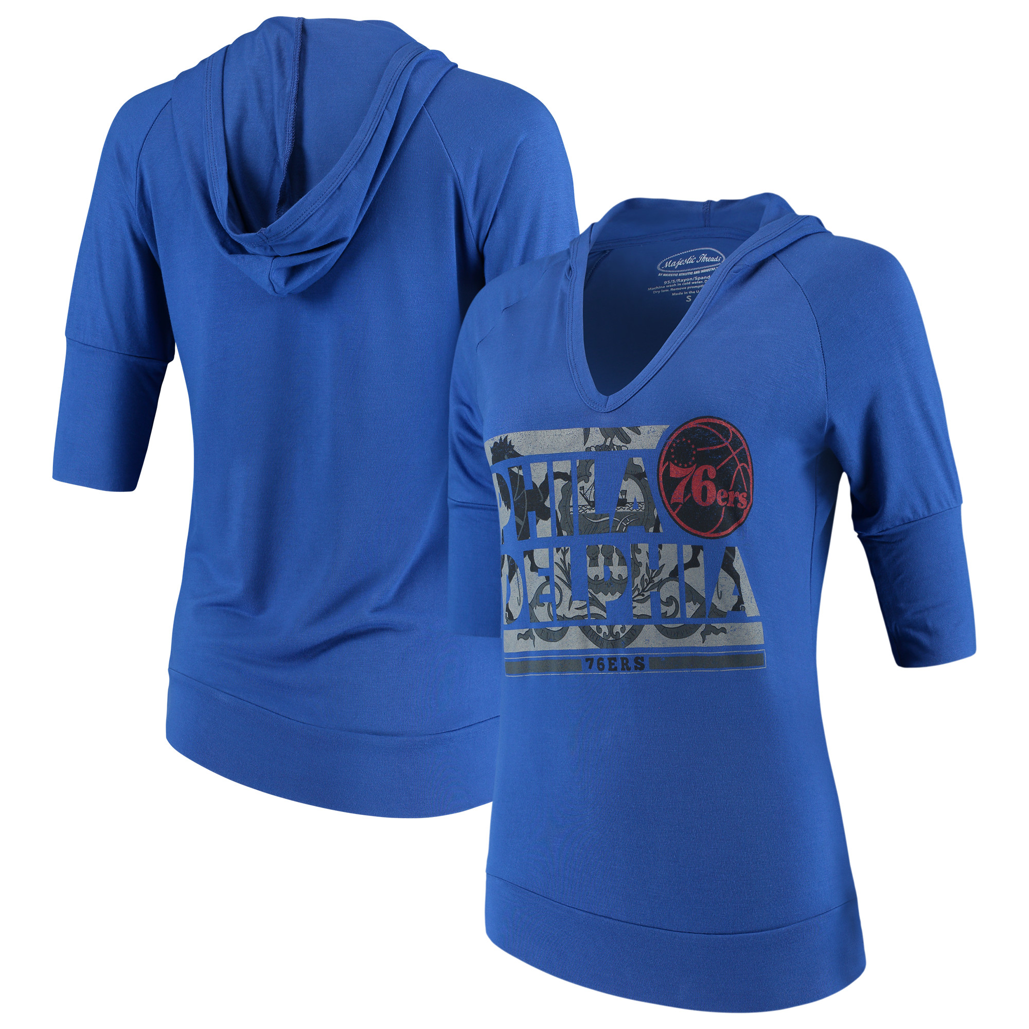 Philadelphia 76ers Majestic Threads Women's City State Elbow Sleeve V-Neck Hooded Pullover Top - Royal
