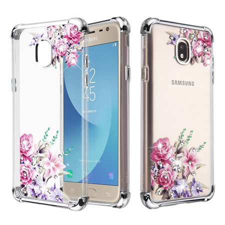 Clear Pink Case - Samsung Galaxy J7 2018, J7 Refine, Galaxy J7 V 2nd Gen,Galaxy J7 Star Phone Case Hybrid Shockproof Armor Silicone Rubber Rugged Protective TPU Cover Clear Pink Flowers Case for Samsung Galaxy J7 2018