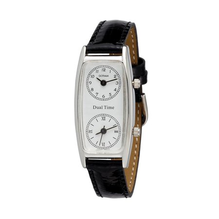 Women's Silver-Tone Dual Time Zone Leather Strap Quartz Watch ()
