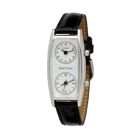 Seiko Dual Time - Women's Silver-Tone Dual Time Zone Leather Strap Quartz Watch