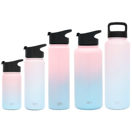 Simple Modern 22 oz Summit Water Bottle - Stainless Steel Hydro Metal Flask  +2 Lids - Wide Mouth Double Wall Vacuum Insulated Large 2 Liter Half