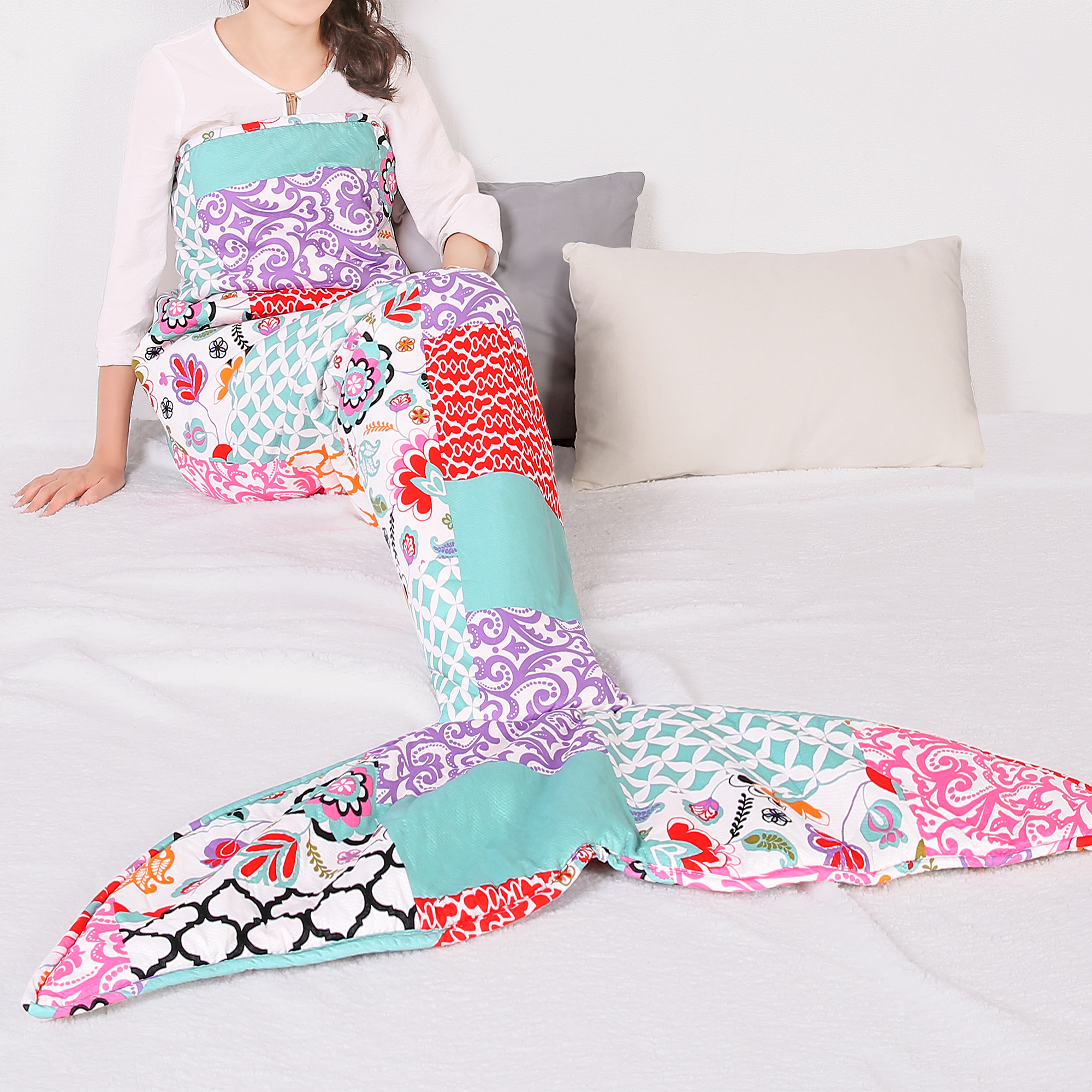 Brookdale Patchwork Mermaid Shape Sherpa Throw Purple/Turquoise Single 30x75