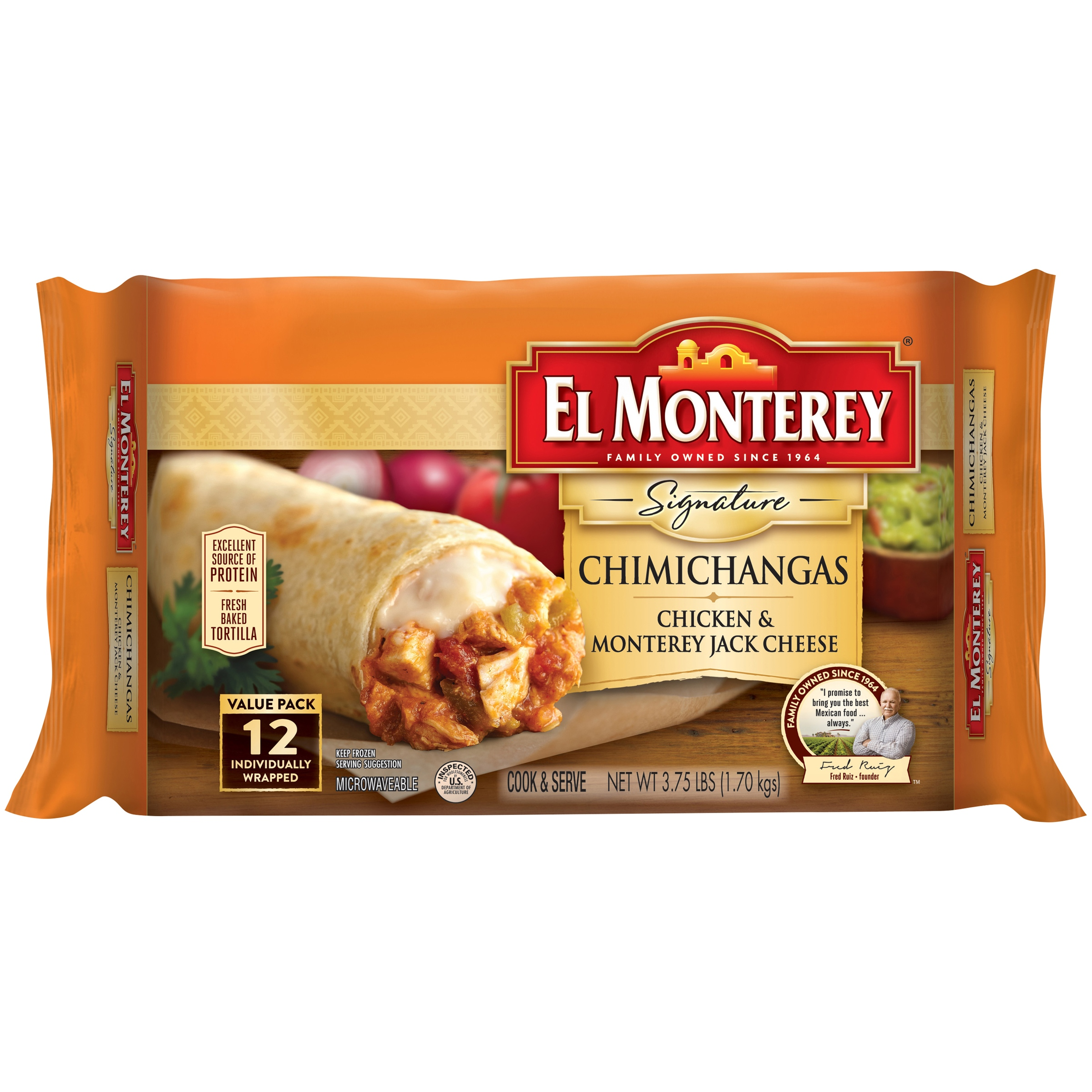 El Monterey® Signature Chicken & Monterey Jack Cheese Chimichangas 12 ct Bag