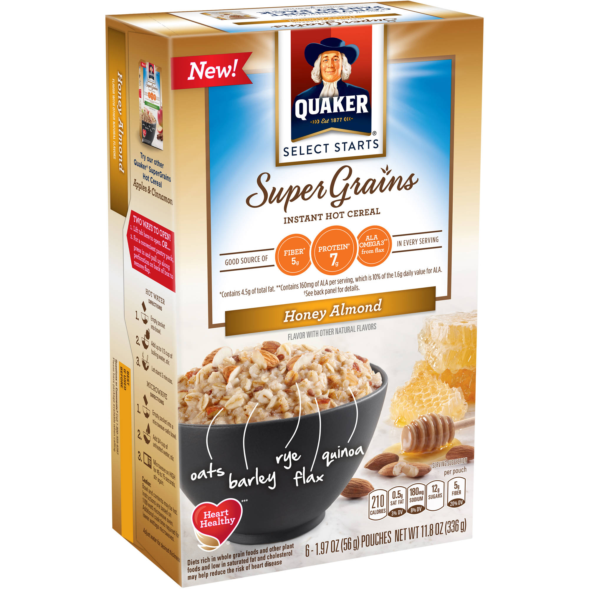Quaker Select Starts Super Grains Honey Almond Instant Hot Cereal, 1.97 oz, 6 count