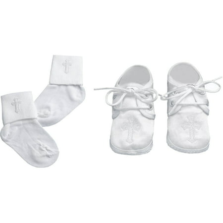 Christening Baptism Newborn Baby Boy Special Occasion Christening Shoes & Socks Matching Set