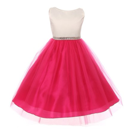 Little Girls Fuchsia Shiny Sleeveless Tulle Overlay Special Occasion Dress