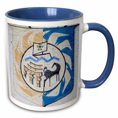 3dRose Tunisia, Tunis, Carthage, Byrsa Hill, sign-AF47 WBI0073 - Walter Bibikow - Two Tone Blue Mug, 11-ounce