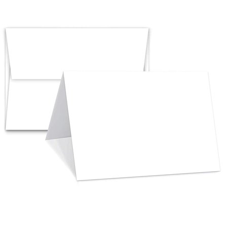 Greeting Cards Set - 4.25 x 5.5 Inches Blank White Cardstock & Envelopes Perfect for Business, Invitations, Bridal Shower, Birthday, Gift, Invitation Letter, Weddings & All Occasion - Bulk 50 Set