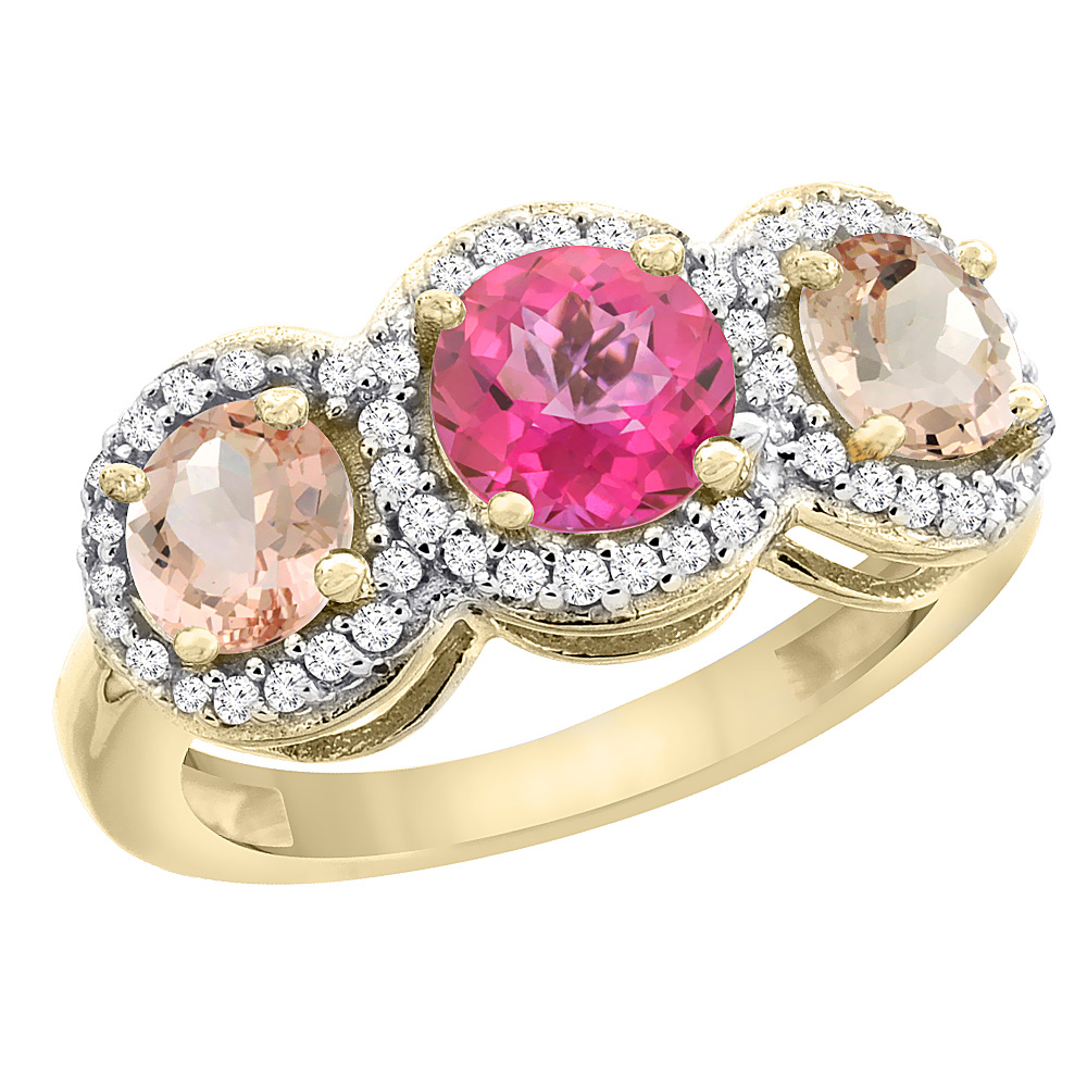 14K Yellow Gold Natural Pink Topaz & Morganite Sides Round 3-stone Ring Diamond Accents, size 5 by Gabriella Gold