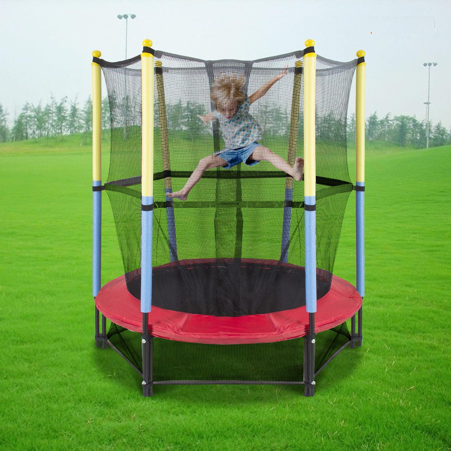 "Ktaxon 55"" Round Kids Mini Trampoline Combo, with Safety Enclosure Net Pad, for Rebound Jumping Outdoor Playground Exercise"