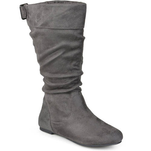 Journee Collection Chely-8 Wide calf  Women  Round Toe Canvas  Mid Calf Boot