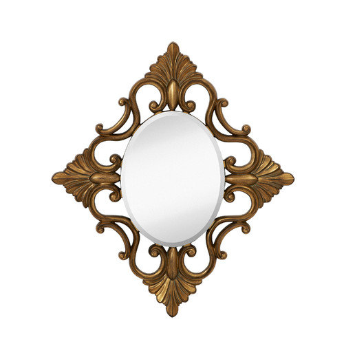 Majestic Mirror Decorative Oval Accent Mirror with Traditional Antique Gold Leaf Frame