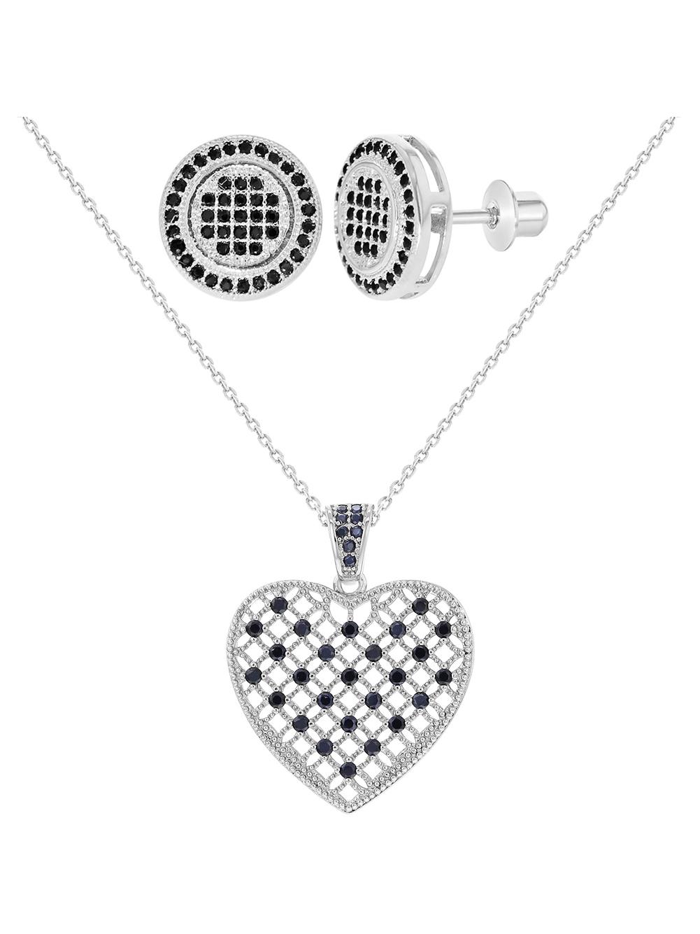 Rhodium Plated Black CZ Screw Back Earrings Heart Pendant Jewelry Set for Women