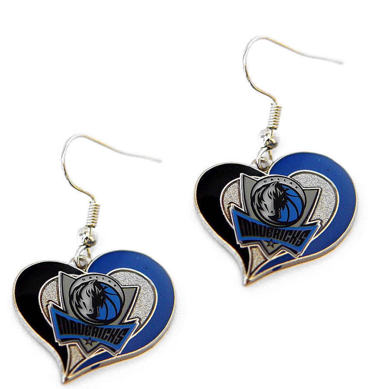 Dallas Mavericks Swirl Heart Earring NBA Sports Team Logo Dangle Charm Gift