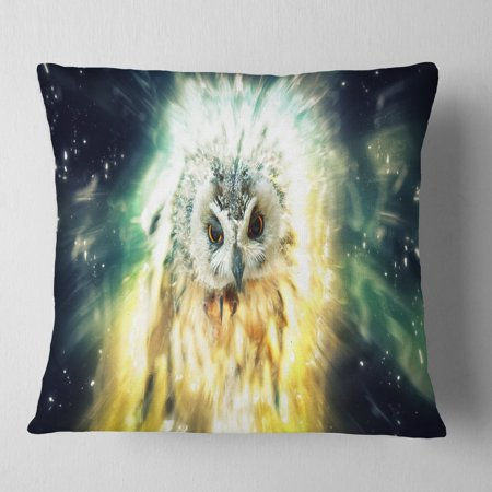 Owl over Colorful Abstract Image' Animal Throw Pillow