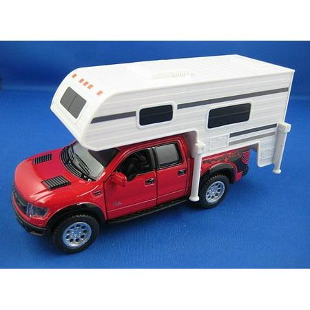 """6"""" Kinsmart 2013 Ford F-150 SVT Raptor SuperCrew Camper Diecast Model 1:46 Red"""