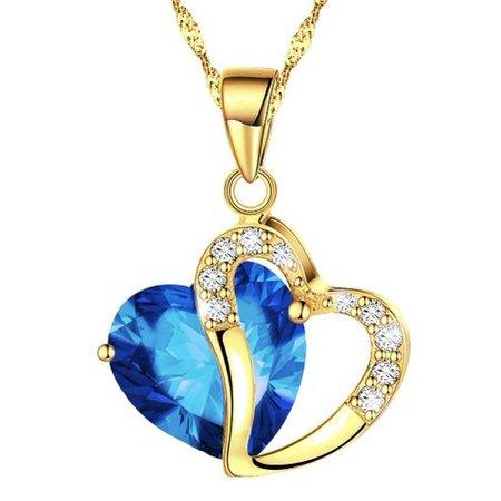 KATGI Fashion Austrian Gold Plated Dark Blue Crystal Heart Shape Pendant Necklace, 18
