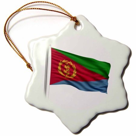 3dRose Flag of Eritrea on a flag pole over white Eritrean, Snowflake Ornament, Porcelain, 3-inch